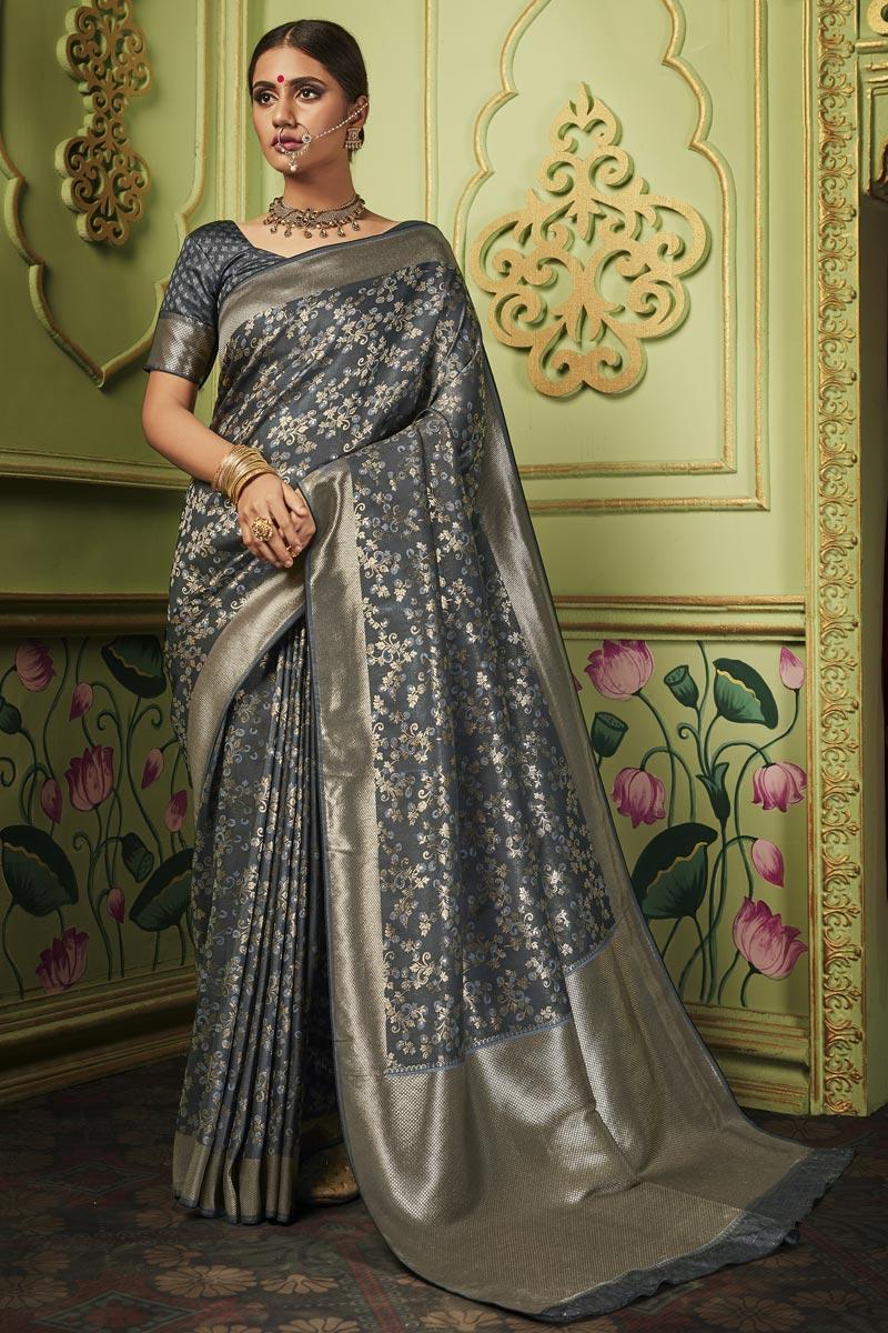 Art Silk Fabric Chic Sangeet Function Wear Grey Color Weaving Work Saree