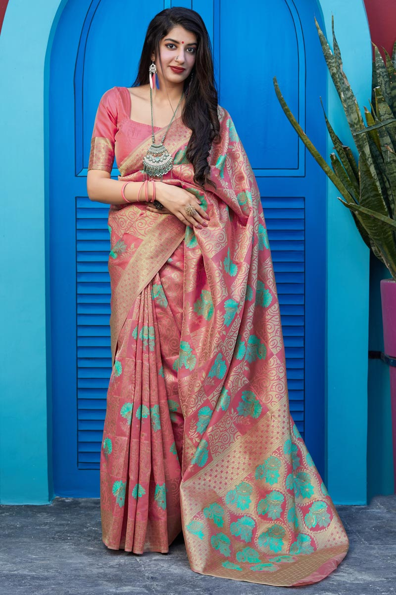 Classical Party Wear Pink Color Weaving Work Saree In Art Silk Fabric