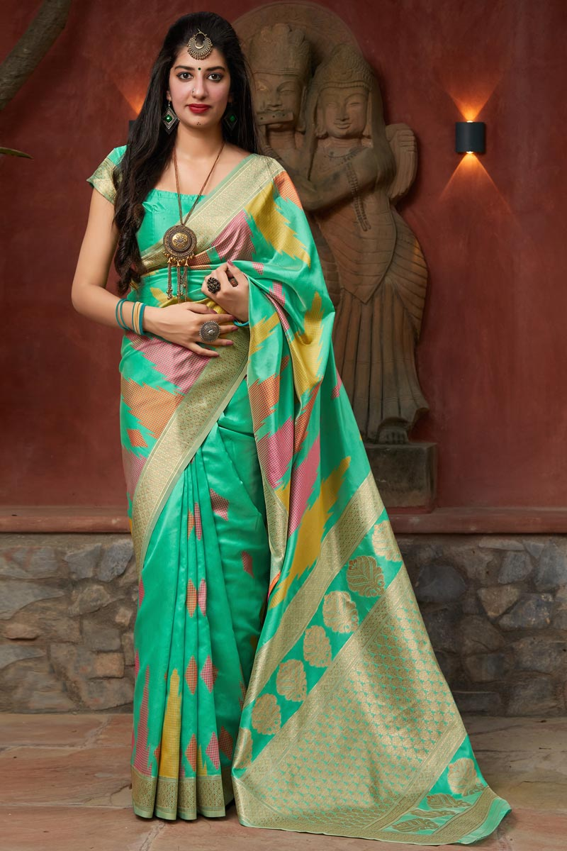 Party Wear Cyan Color Classical Art Silk Fabric Weaving Work Saree
