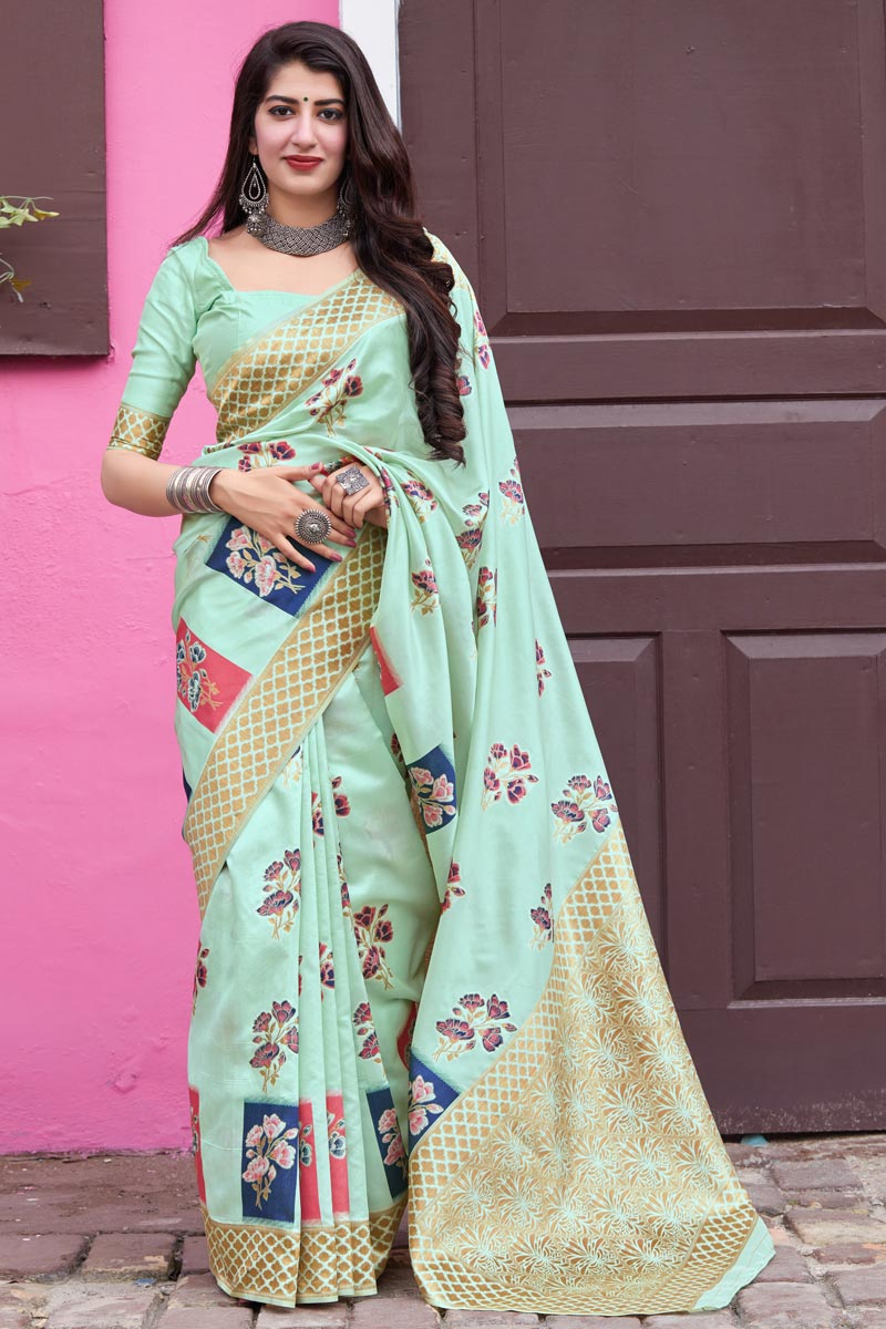 Classical Art Silk Fabric Party Wear Sea Green Color Weaving Work Saree