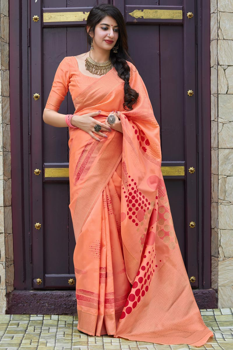 Party Wear Art Silk Fabric Classical Weaving Work Saree In Peach Color