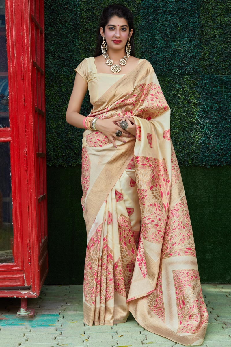 Art Silk Fabric Classical Party Wear Beige Color Weaving Work Saree