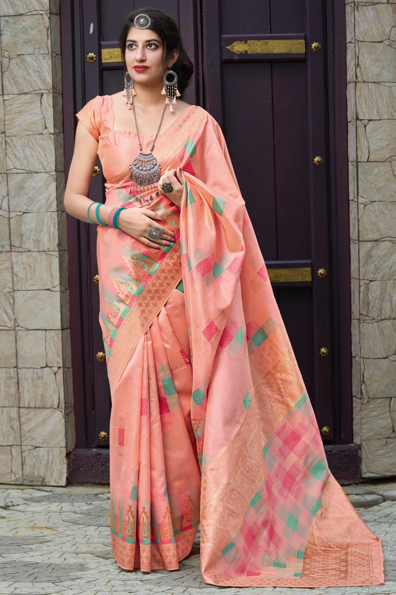 Party Wear Art Silk Fabric Classical Weaving Work Saree In Pink Color