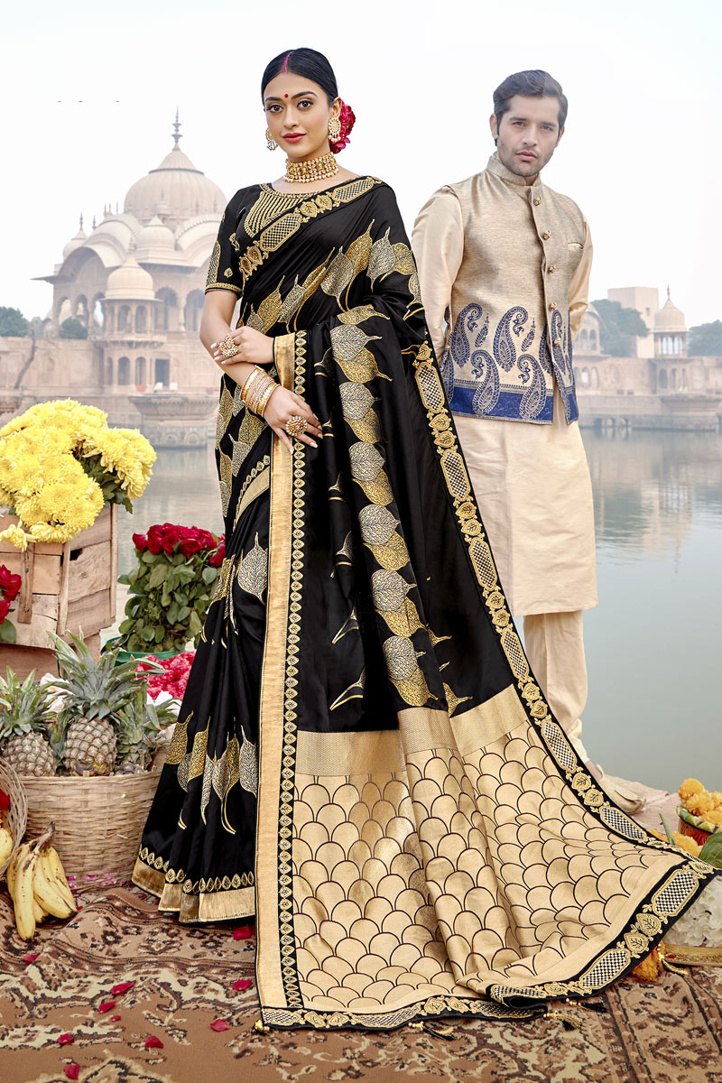 Weaving Work Designs On Banarasi Silk Fabric Function Wear Saree In Black Color