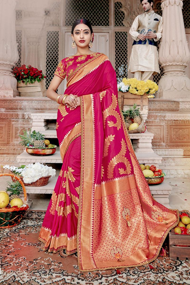 Banarasi Silk Fabric Dark Pink Color Designer Saree With Weaving Work