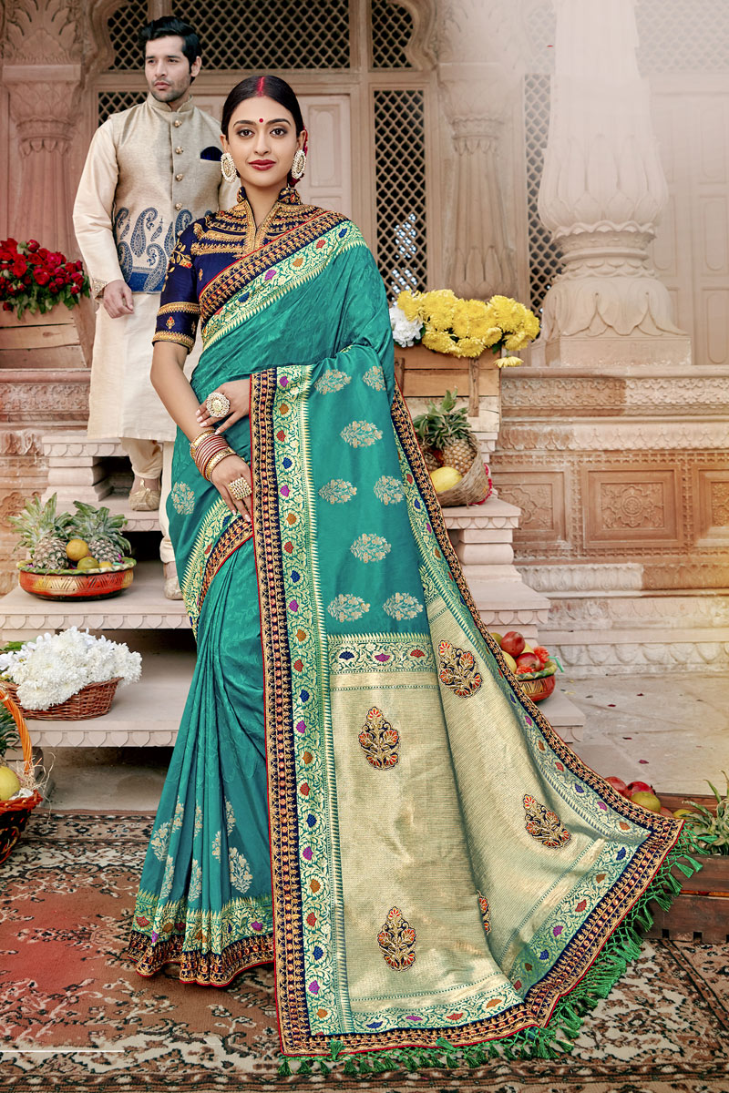Traditional Banarasi Silk Fabric Saree In Dark Cyan Color With Weaving Work For Wedding Function