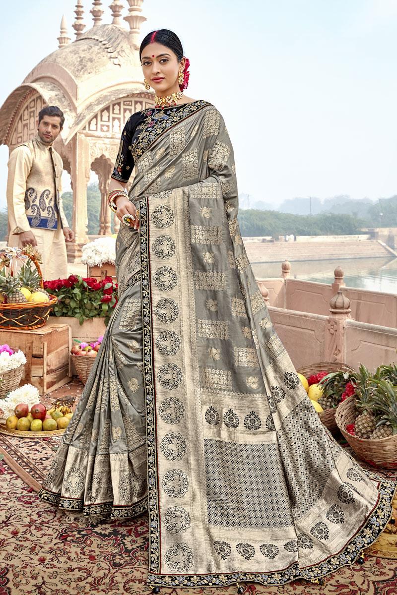 Weaving Work Designs On Grey Color Banarasi Silk Fabric Party Wear Saree