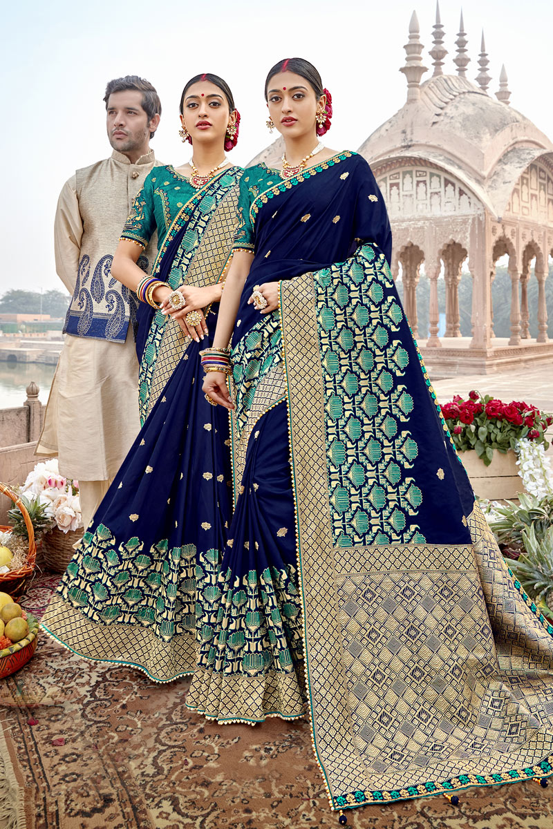 Banarasi Silk Fabric Blue Color Designer Saree With Weaving Work And Party Wear Blouse