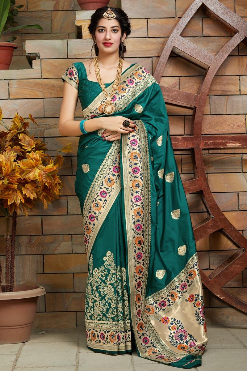 Art Silk Fabric Trendy Puja Wear Teal Weaving Work Saree