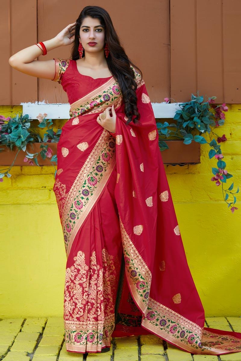 Puja Wear Red Trendy Art Silk Fabric Weaving Work Saree