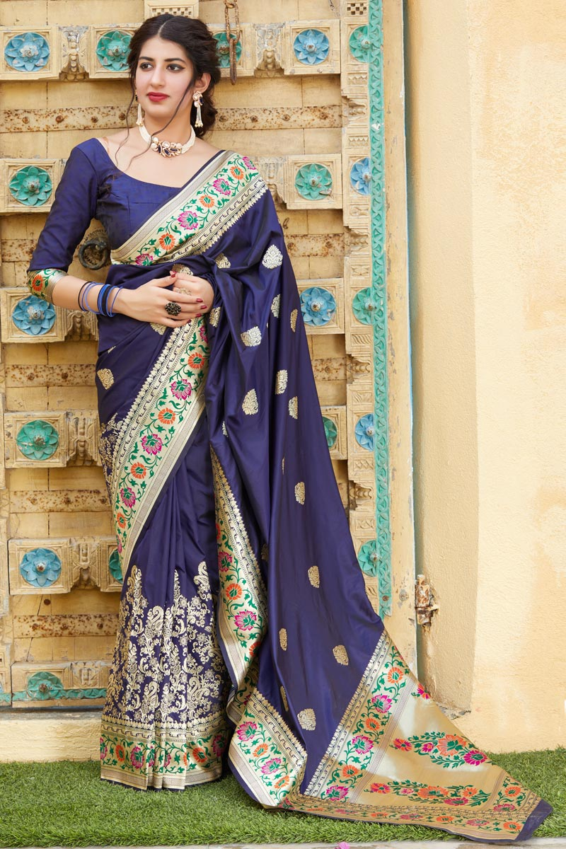Art Silk Fabric Puja Wear Trendy Navy Blue Weaving Work Saree