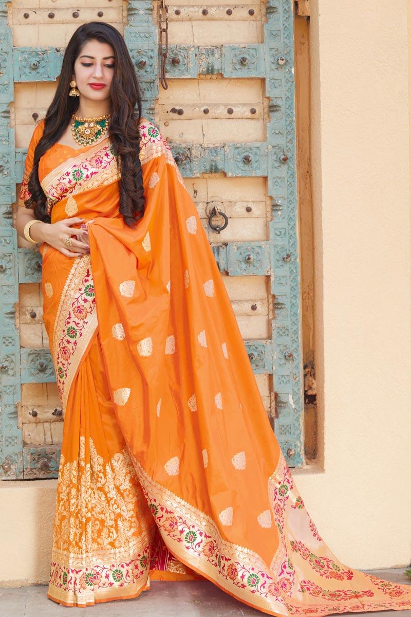 Puja Wear Orange Trendy Art Silk Fabric Weaving Work Saree
