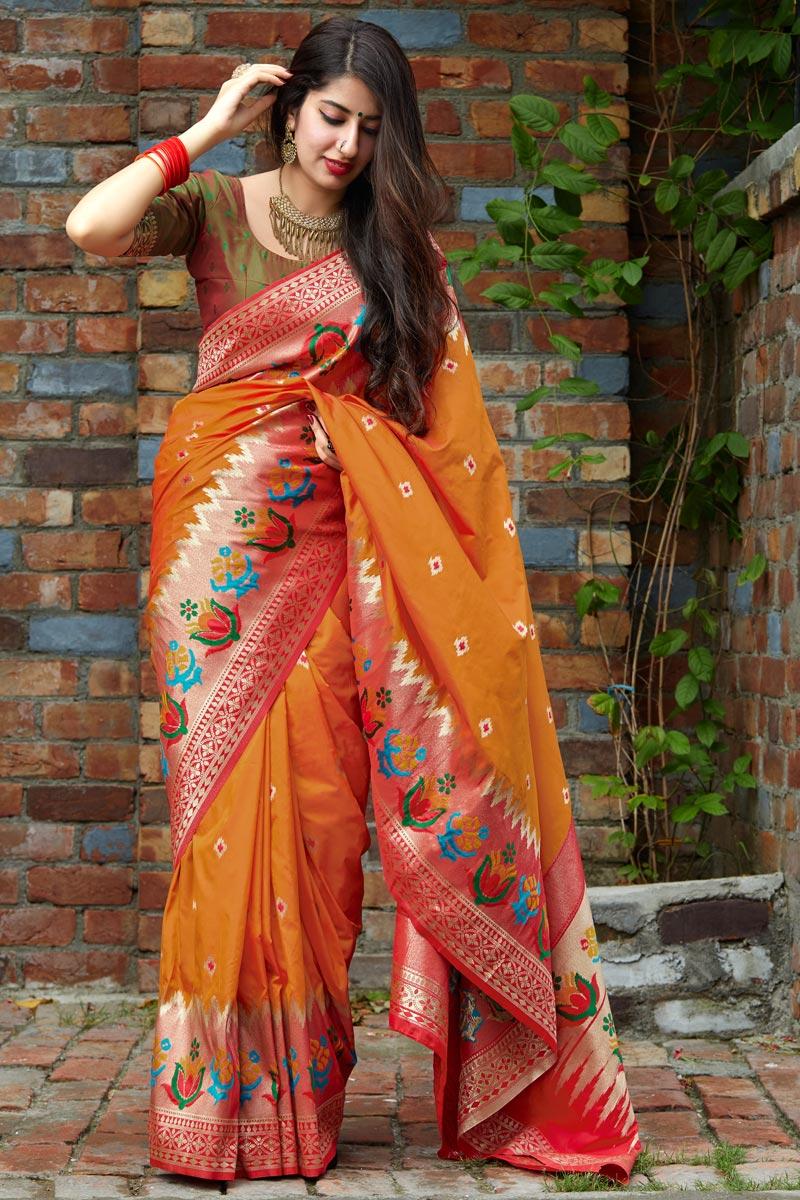 Orange Trendy Puja Wear Art Silk Fabric Weaving Work Saree