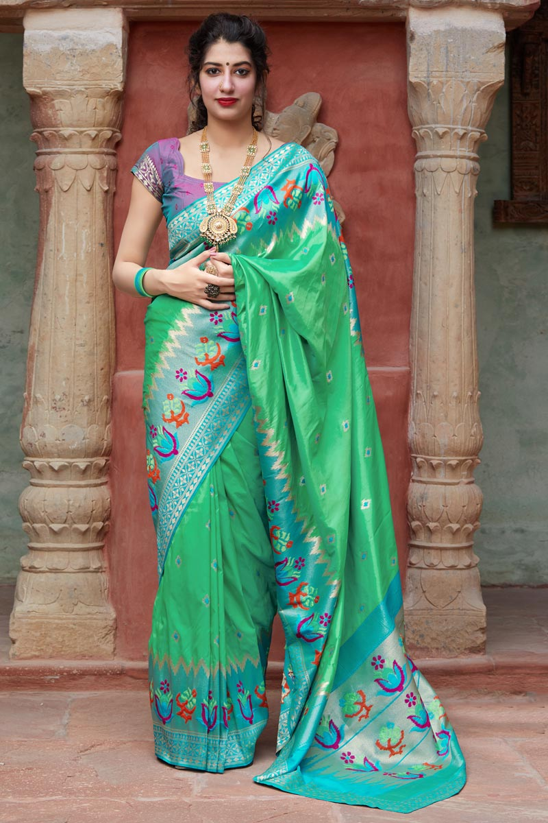 Art Silk Fabric Puja Wear Sea Green Trendy Weaving Work Saree