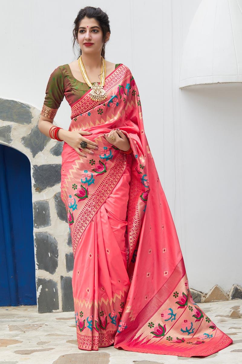 Pink Trendy Puja Wear Art Silk Fabric Weaving Work Saree