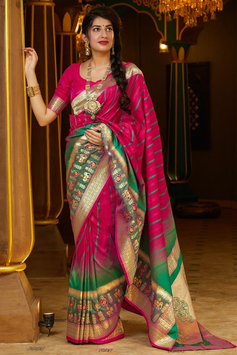 Puja Wear Art Silk Fabric Trendy Rani Color Weaving Work Saree