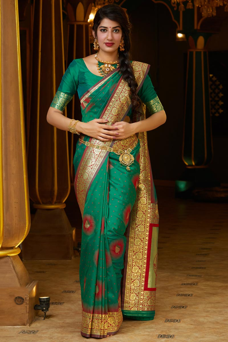 Puja Wear Teal Trendy Weaving Work Saree In Art Silk Fabric