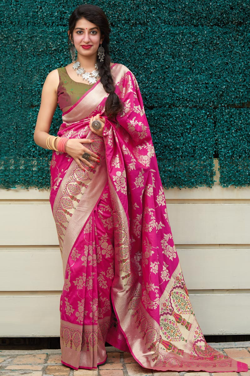 Art Silk Fabric Puja Wear Classic Rani Color Weaving Work Saree