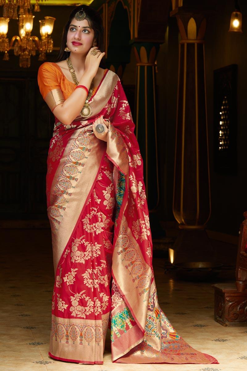 Puja Wear Red Classic Art Silk Fabric Weaving Work Saree