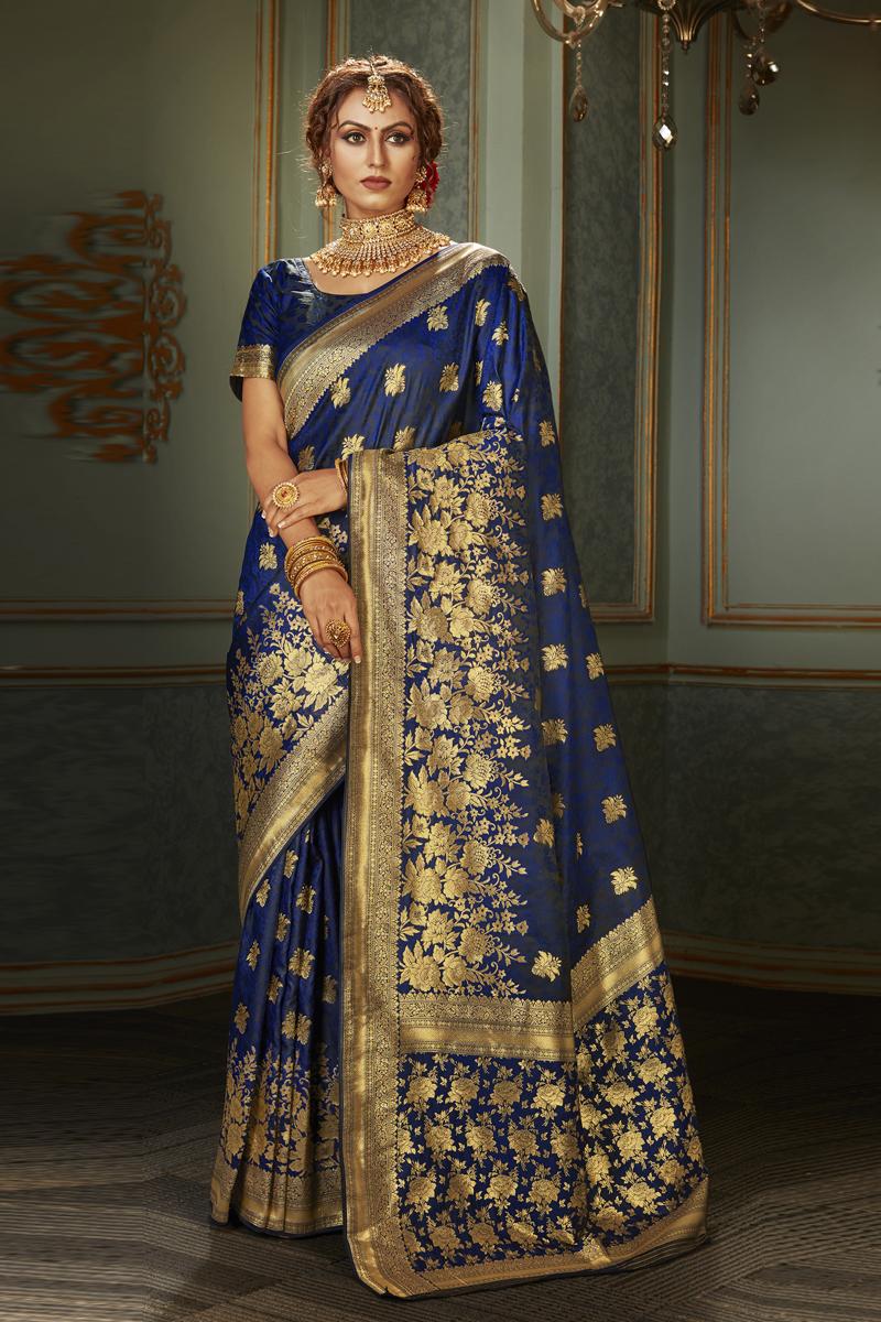 Blue Color Banarasi Silk Fabric Festive Wear Saree