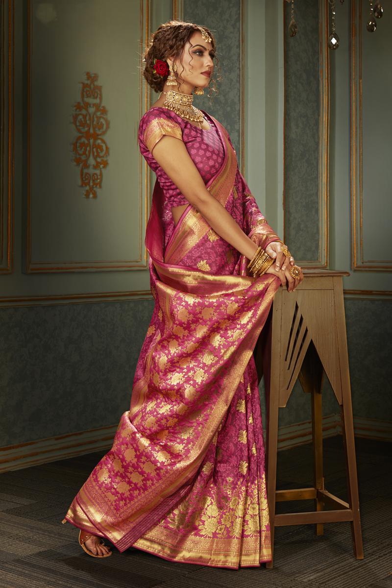 Banarasi Silk Fabric Pink Color Designer Saree