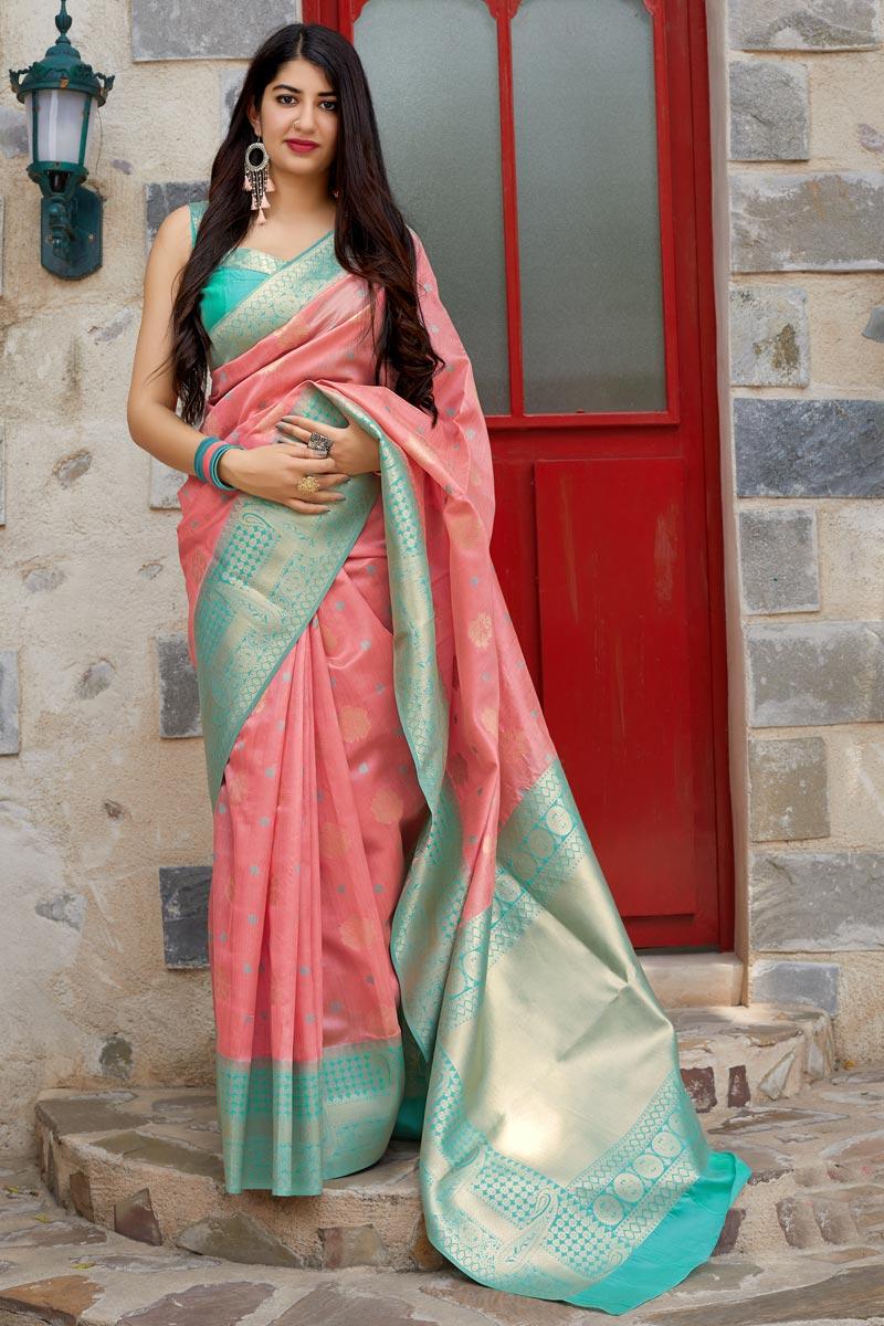 Function Wear Pink Weaving Work Designer Saree In Art Silk