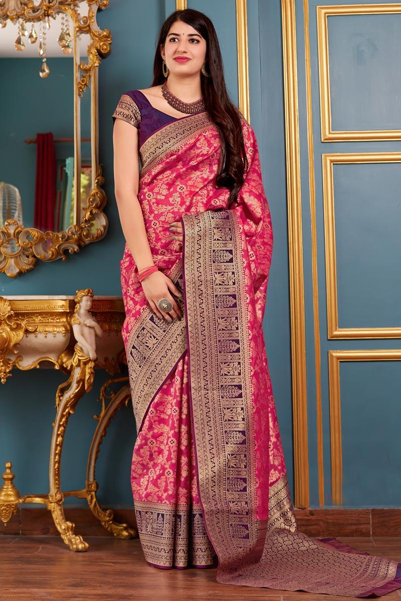 Function Wear Art Silk Designer Weaving Work Saree In Rani Color
