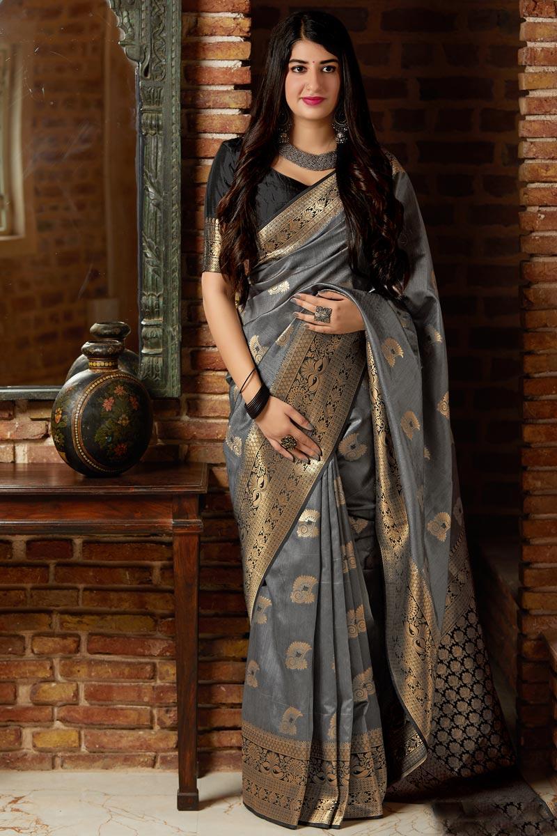Grey Function Wear Art Silk Weaving Work Designer Saree