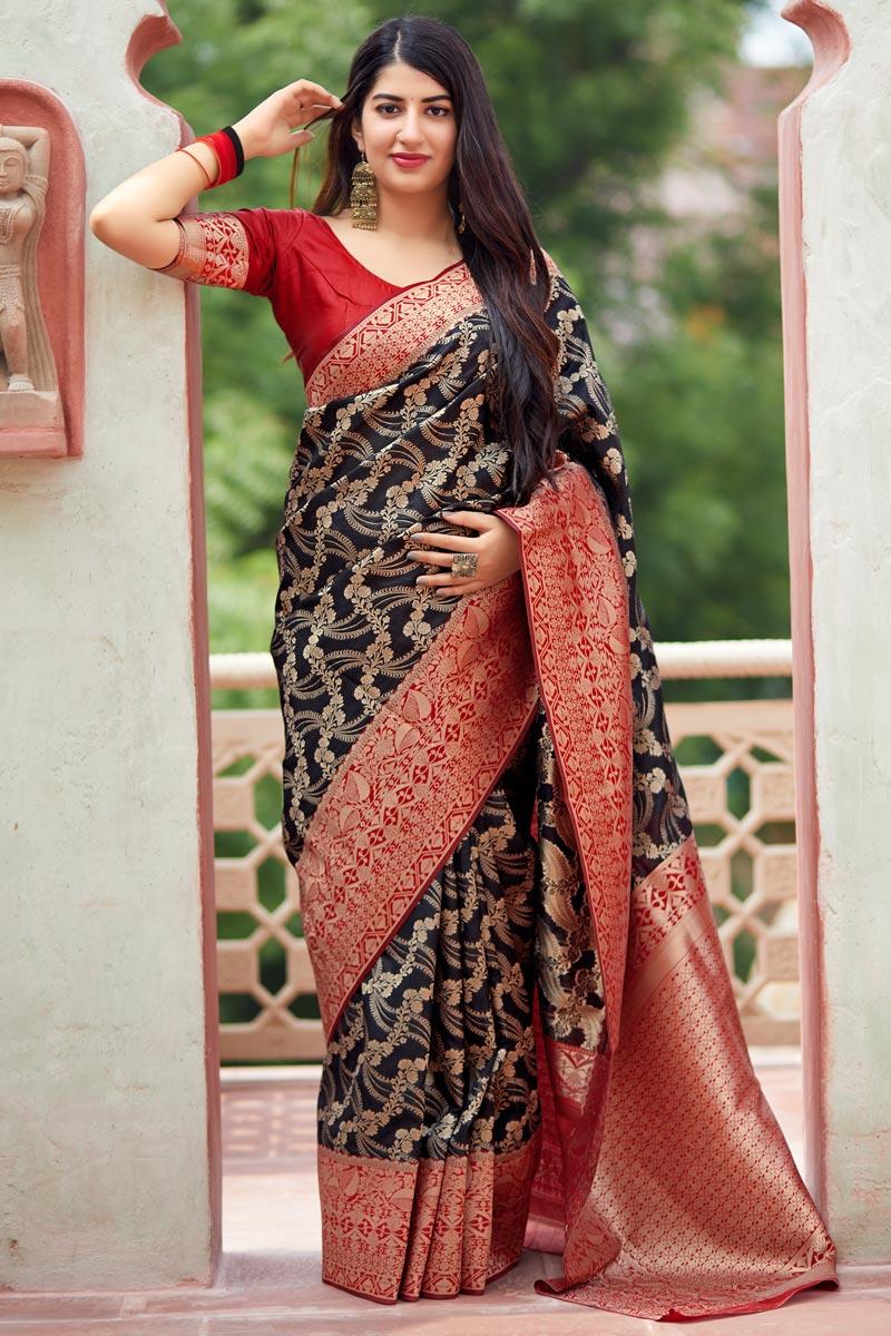 Function Wear Art Silk Weaving Work Designer Saree In Black