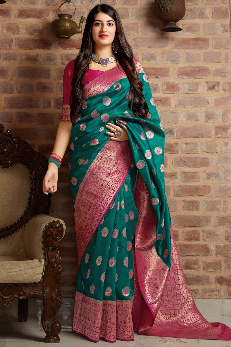 Art Silk Teal Function Wear Weaving Work Designer Saree
