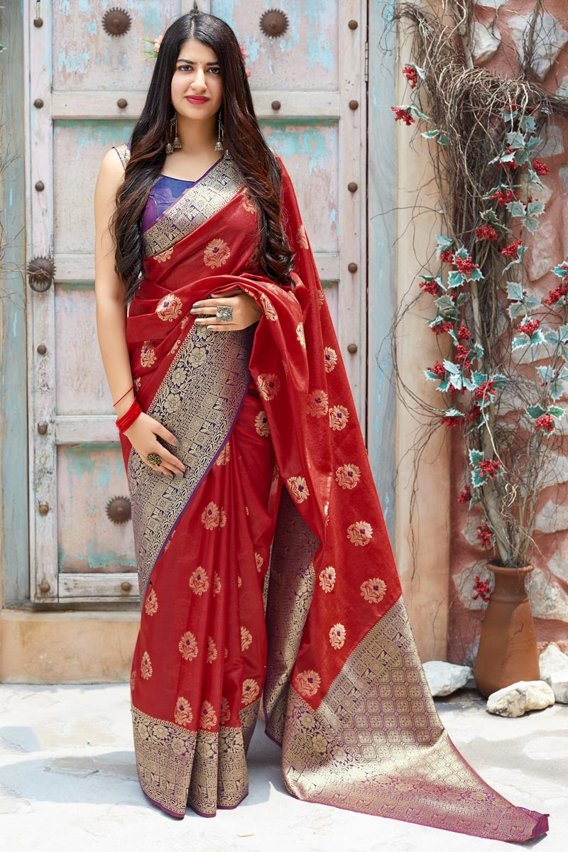 Function Wear Red Designer Weaving Work Saree In Art Silk