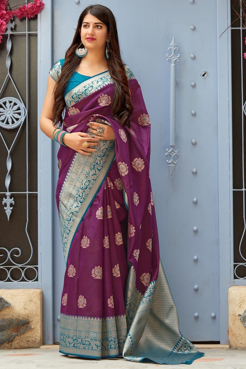 Purple Function Wear Weaving Work Designer Art Silk Saree