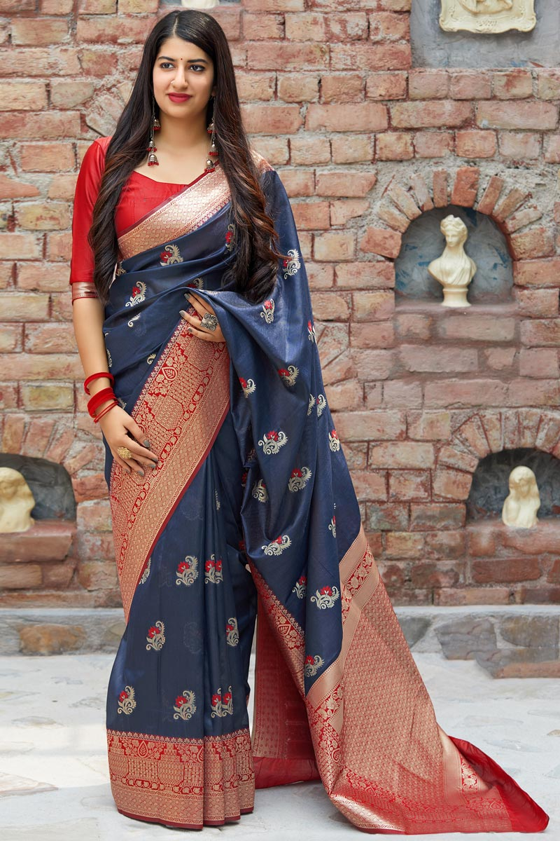 Function Wear Navy Blue Designer Weaving Work Saree In Art Silk
