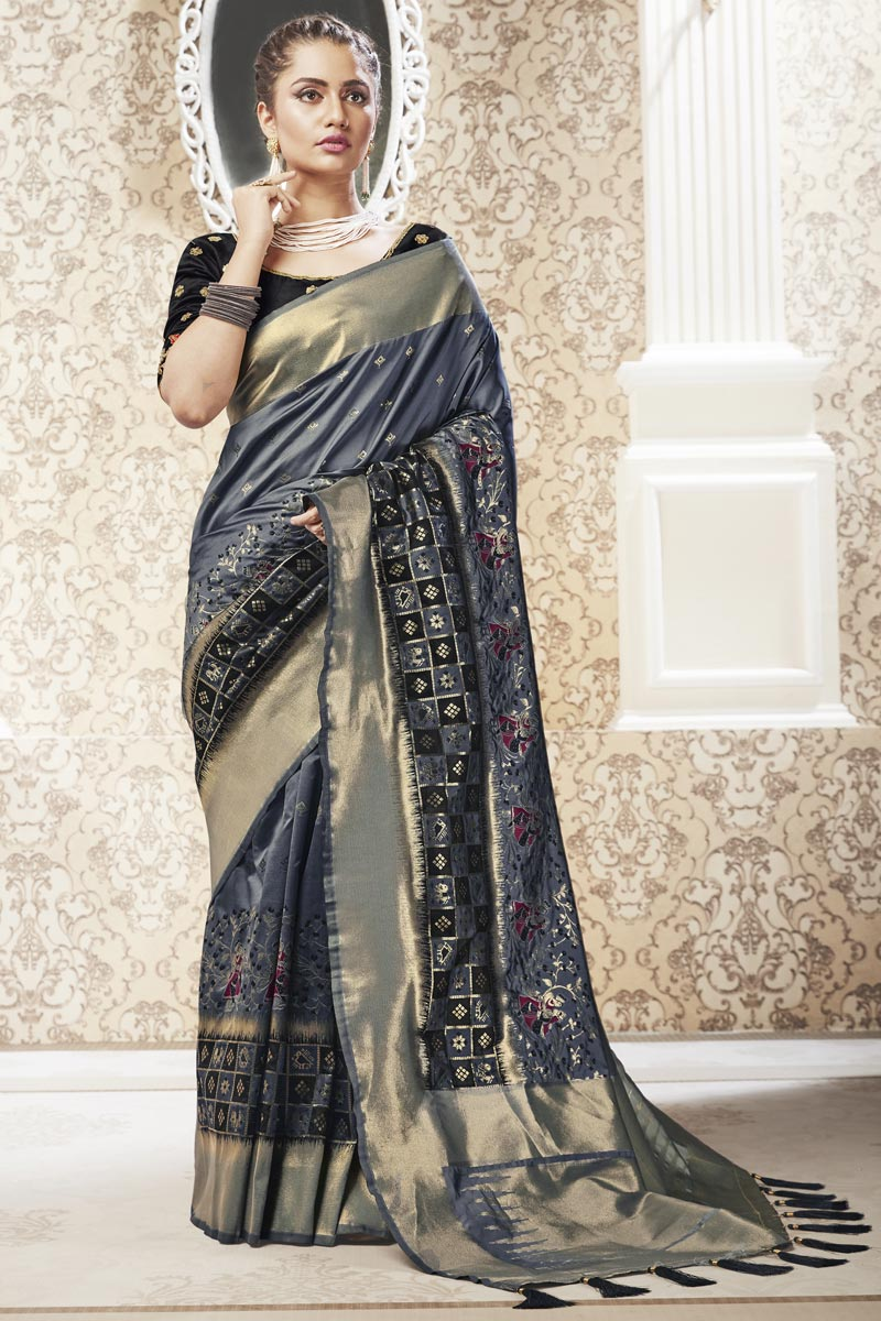 Banarasi Style Art Silk Fabric Sangeet Wear Grey Color Weaving Work Saree