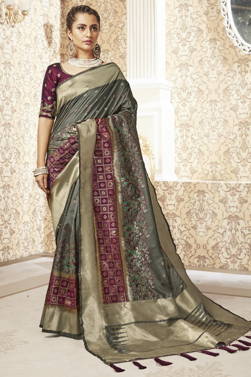 Dark Beige Color Sangeet Wear Weaving Work Saree In Banarasi Style Art Silk Fabric