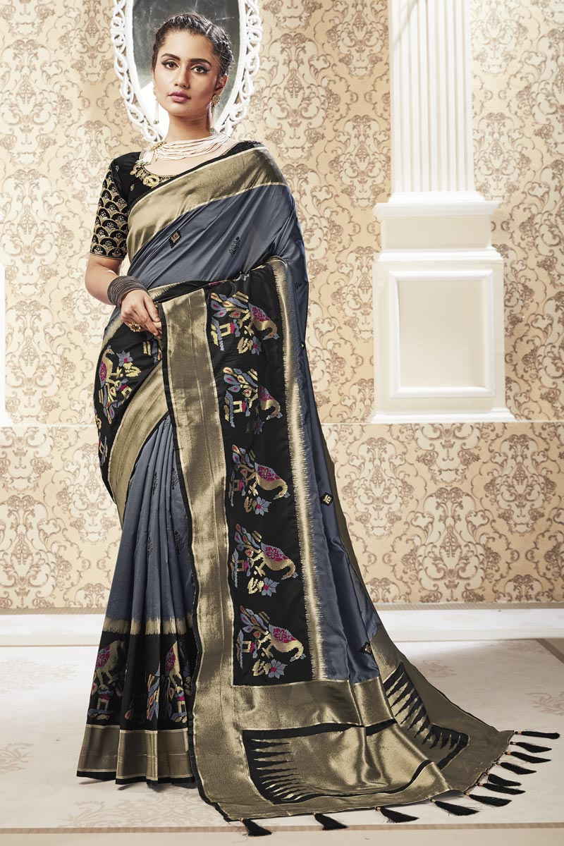 Sangeet Wear Banarasi Style Art Silk Fabric Weaving Work Saree In Grey Color