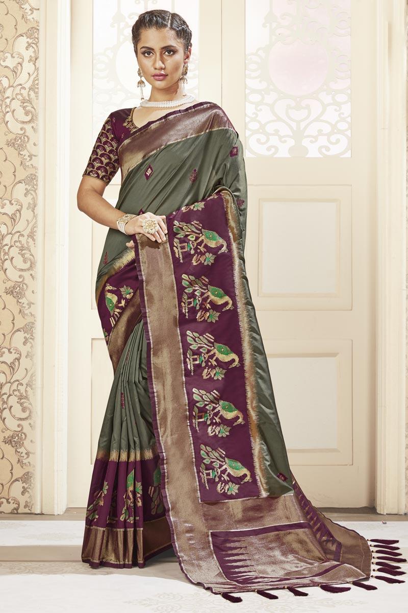 Dark Beige Color Banarasi Style Art Silk Fabric Sangeet Wear Weaving Work Saree