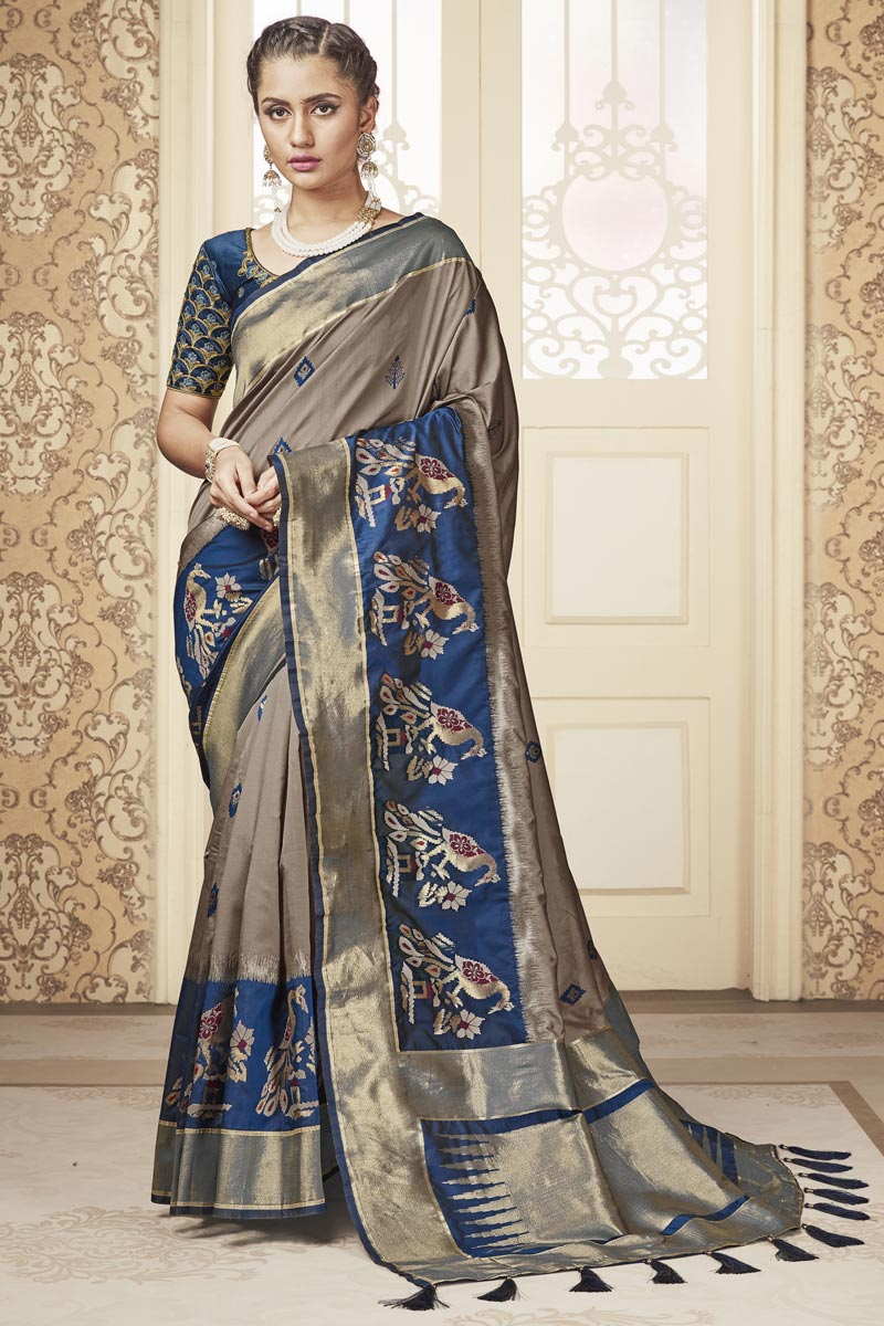 Sangeet Wear Banarasi Style Art Silk Fabric Weaving Work Cream Color Saree