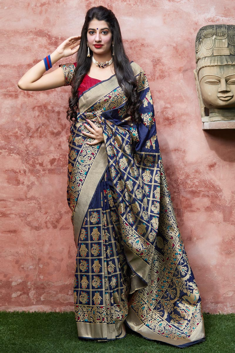 Navy Blue Color Wedding Function Wear Art Silk Fabric Elegant Weaving Work Saree