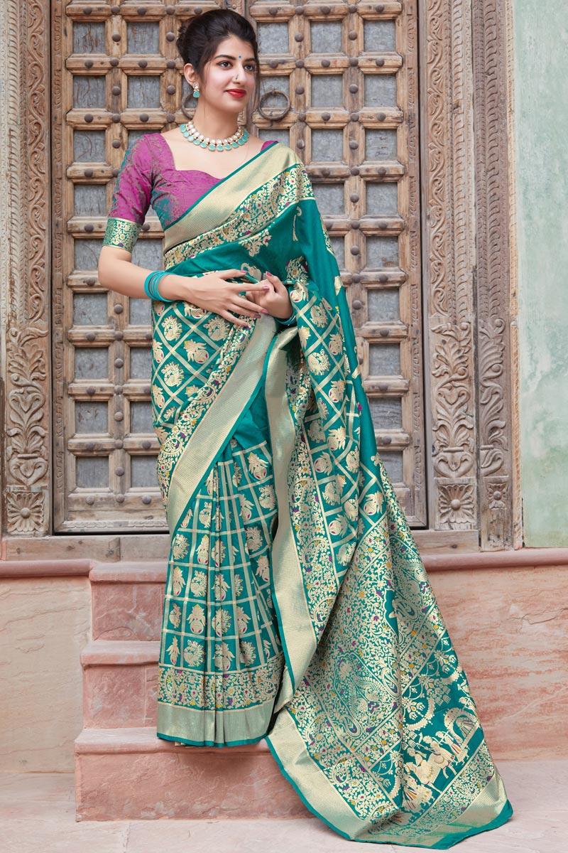 Wedding Function Wear Art Silk Fabric Elegant Weaving Work Saree In Cyan Color