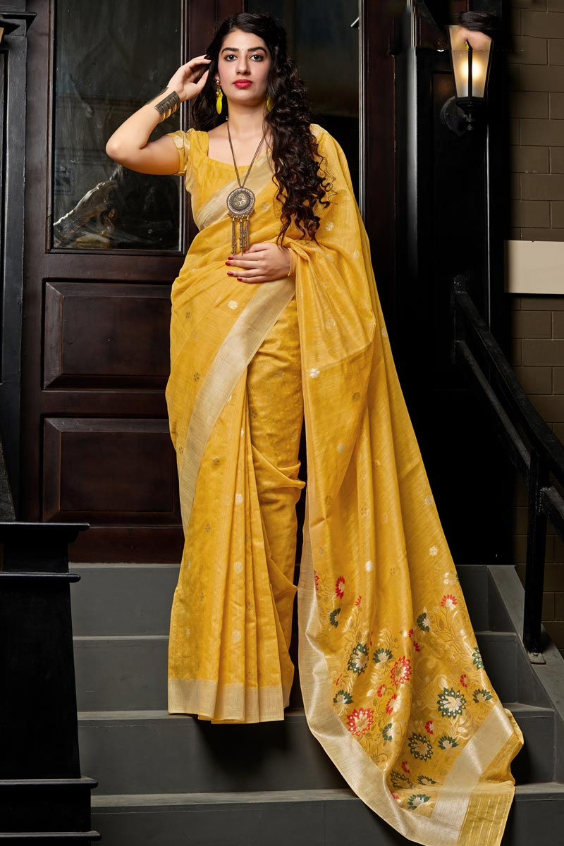 Party Wear Mustard Color Cotton Silk Fabric Chic Weaving Work Saree