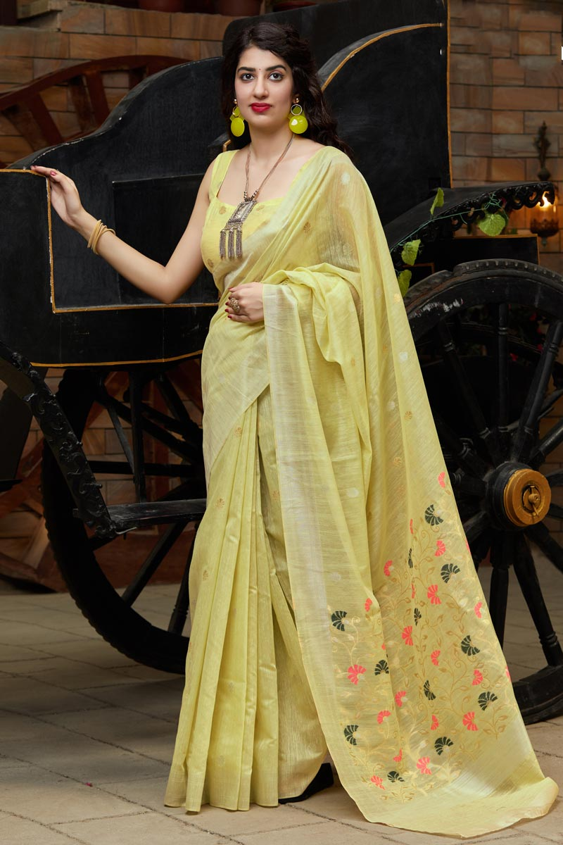 Cotton Silk Fabric Party Wear Chic Yellow Color Weaving Work Saree