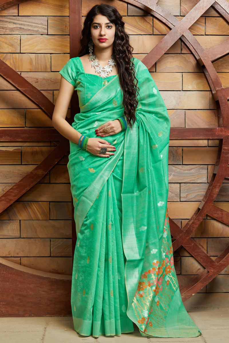 Party Wear Sea Green Color Chic Cotton Silk Fabric Weaving Work Saree