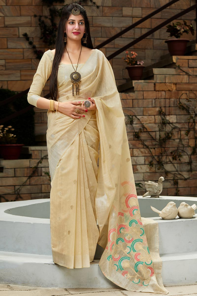 Cream Color Party Wear Chic Weaving Work Saree In Cotton Silk Fabric