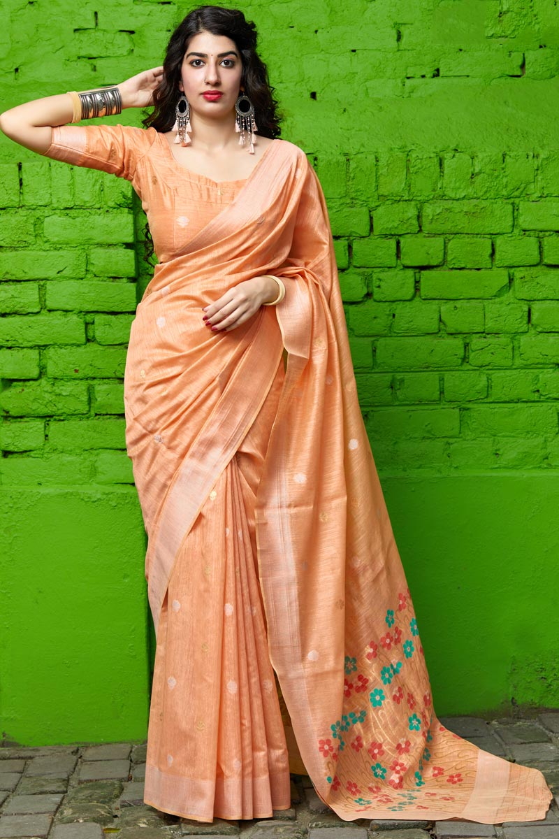 Party Wear Cotton Silk Fabric Chic Weaving Work Saree In Peach Color