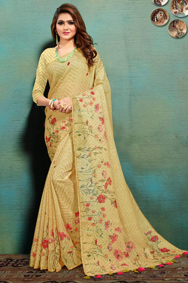 Office Wear Fancy Art Silk Fabric Printed Saree In Yellow Color