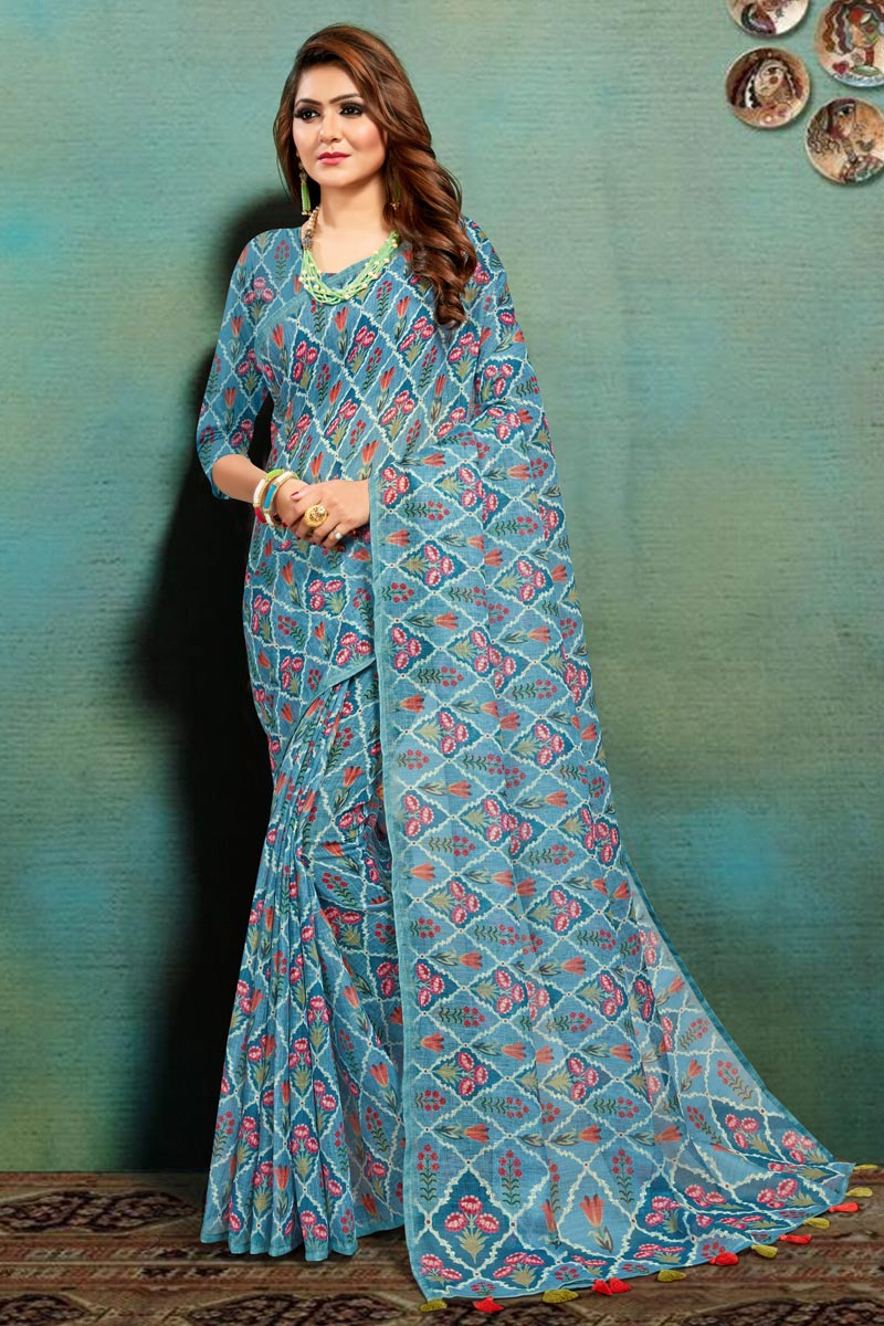 Cyan Color Office Wear Fancy Art Silk Fabric Printed Saree