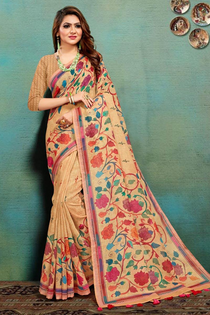 Art Silk Fabric Fancy Office Wear Peach Color Printed Saree