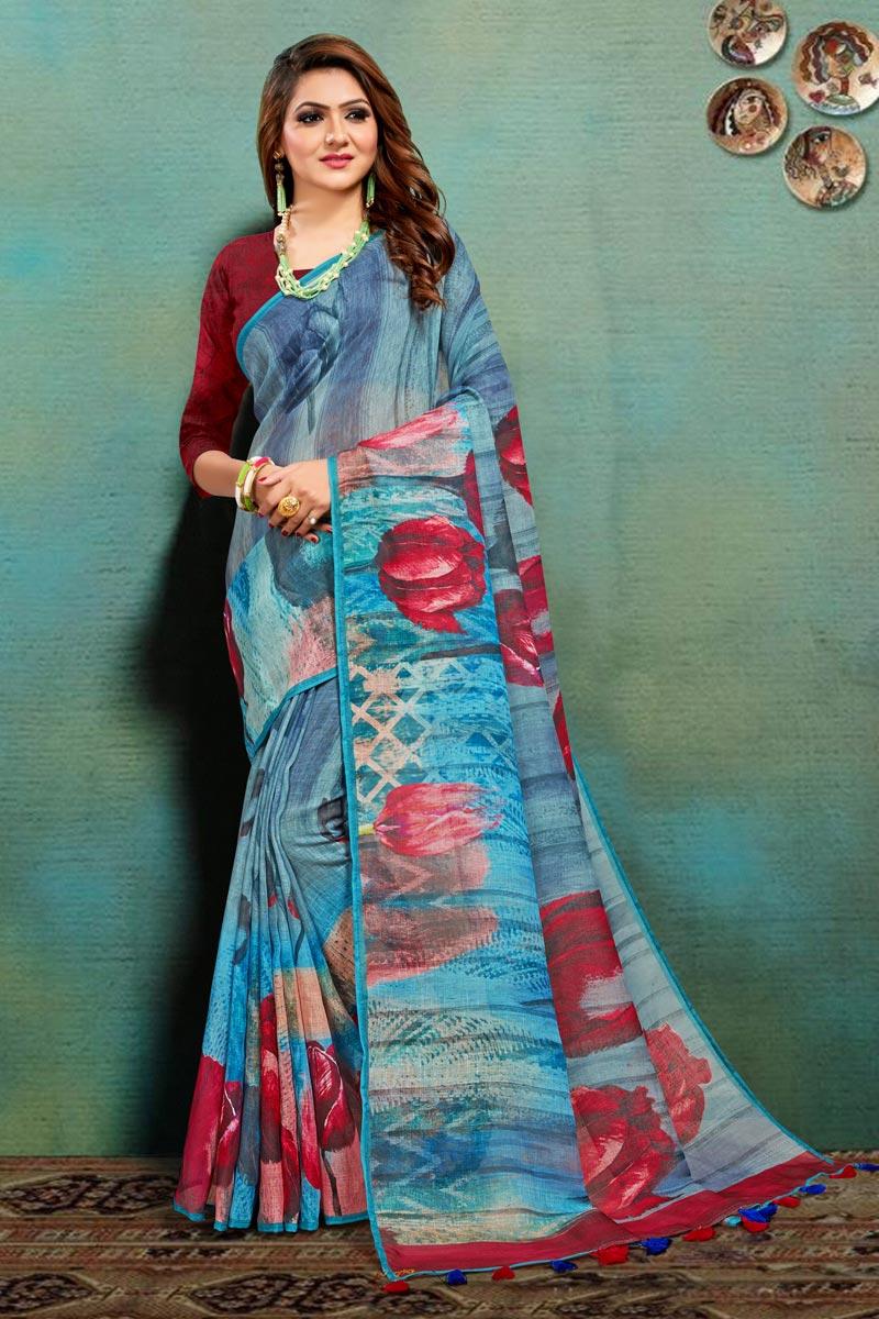 Art Silk Fabric Light Cyan Color Office Wear Fancy Printed Saree