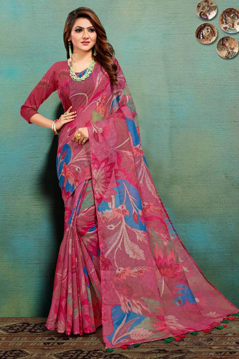 Art Silk Fabric Office Wear Fancy Pink Color Printed Saree